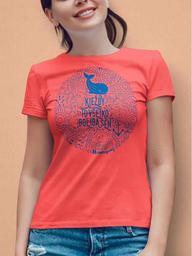 Hemingway tričko dámske Koral