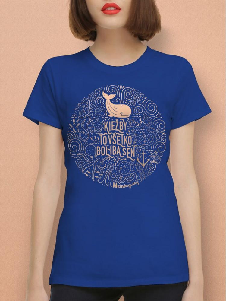 Hemingway tričko unisex modré