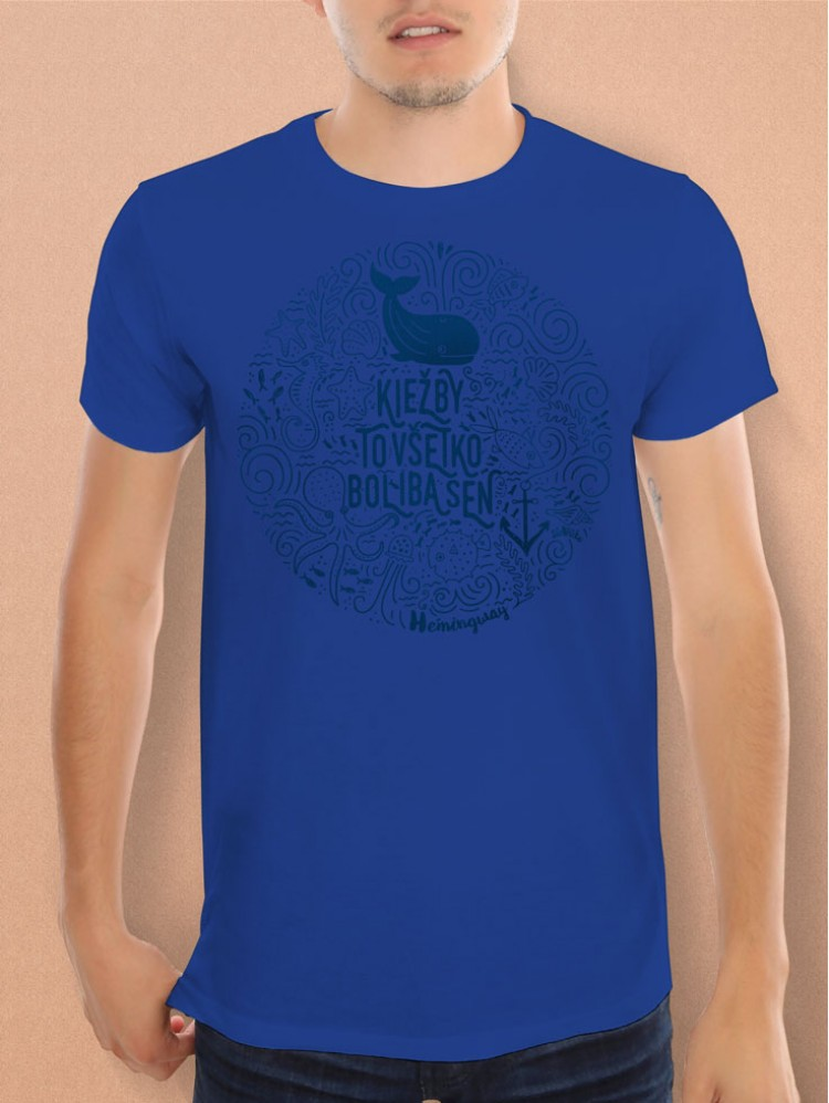 Hemingway tričko unisex modromodré