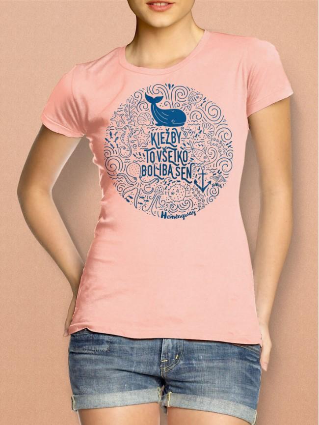 Hemingway tričko dámske losos