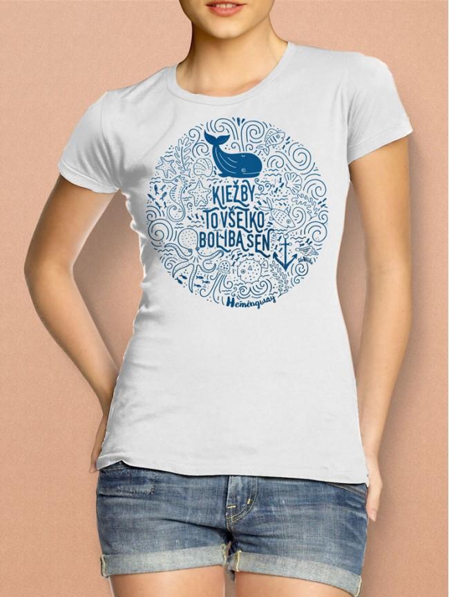 Hemingway tričko dámske biele