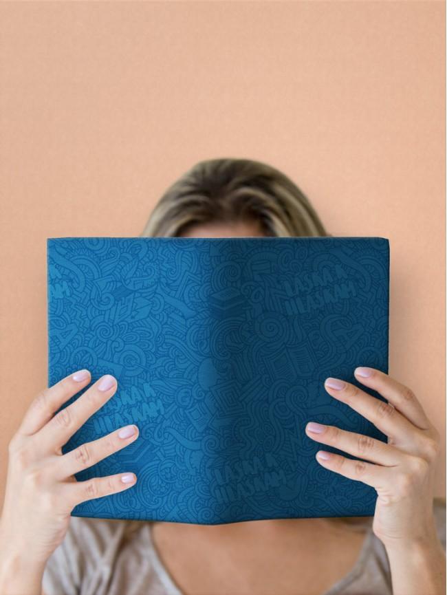 Variabilný obal na knihu Láska k hláskam modrý