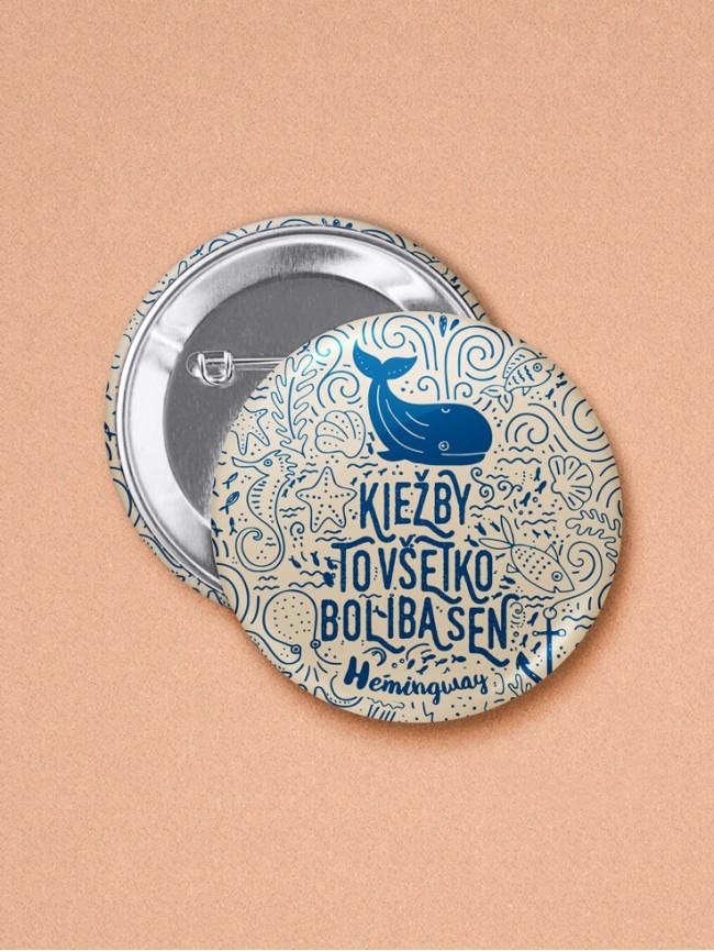 Odznak Hemingway veľryba 37 mm